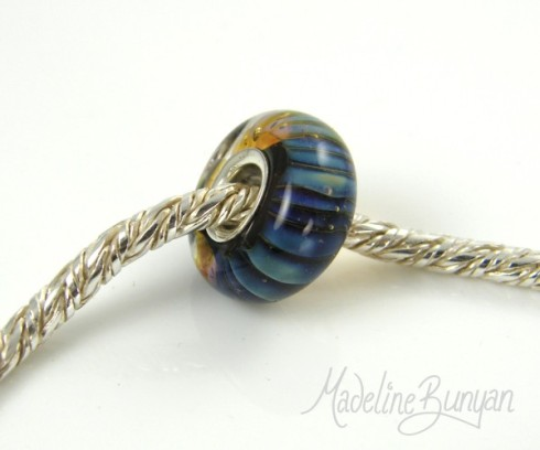 Silver Cored Bead in Blue